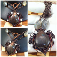Takara Labradorite Copper Pendant by tanyquil