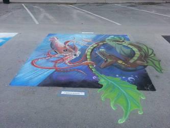 Dark Sea Battle chalk style by kkrex