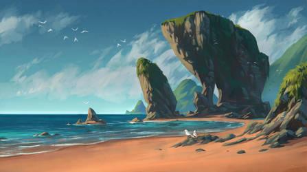 Tropical Island Beach by draken4o