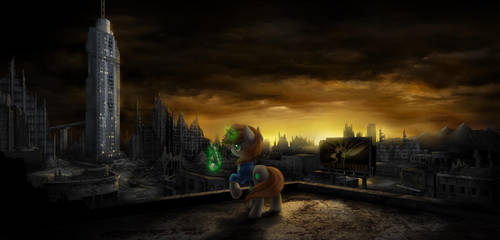 Littlepip on the post-apocalyptic background by empalu