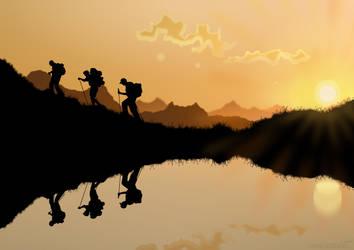 Hikers on Sunset markoze by Markoze