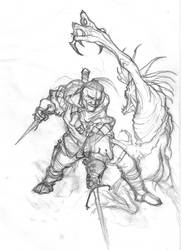 Witcher in action by 2blind2draw