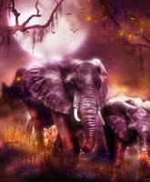 elephants at dawn by L-A-Addams-Art