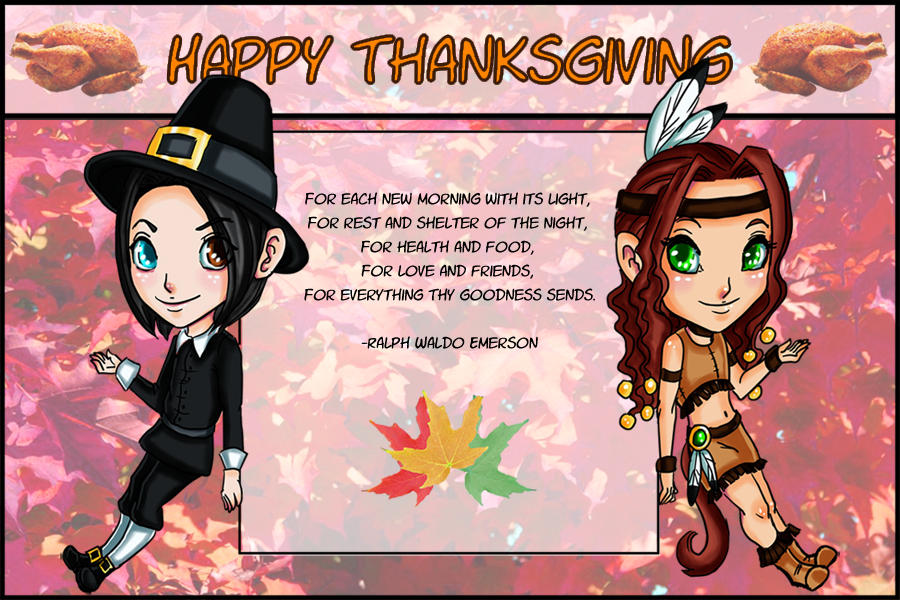 GR: Thanksgiving Chibis by TouchedVenus