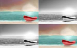 Boat on The Beach (Original vs Digital Painting) by DemonaTheOperator