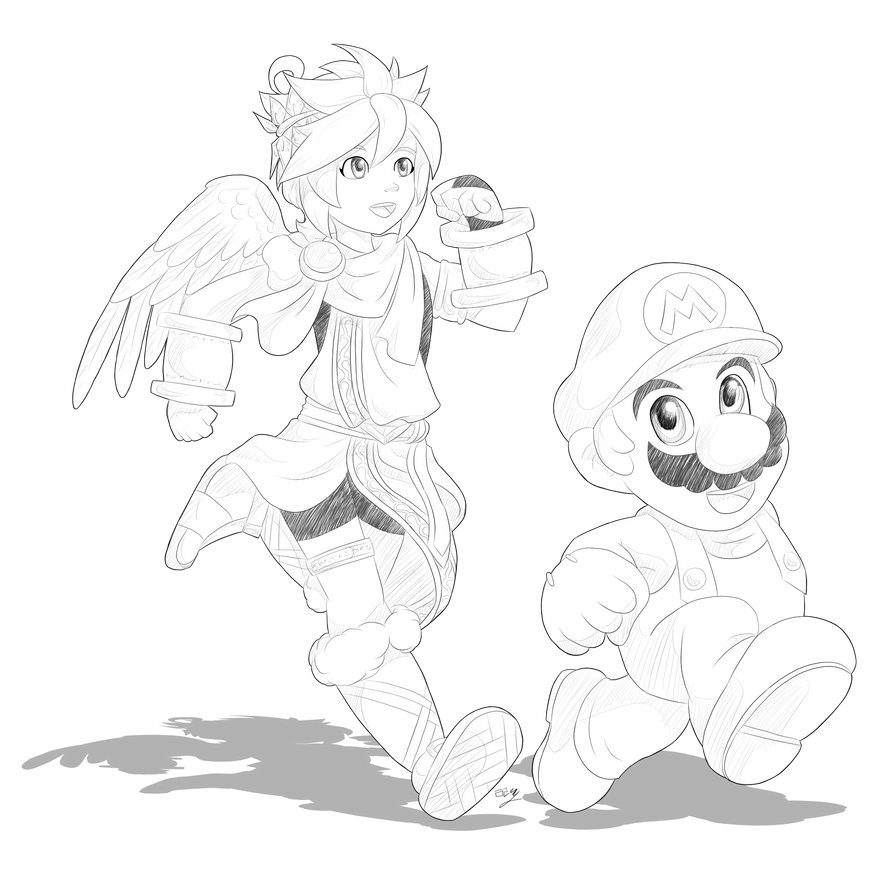 day13 pit and mario by lady of link on deviantart Pit Super Smash Brothers day13 pit and mario by lady of link