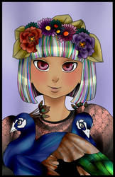 Peacocks And Rainbow Hair by greenie-chan