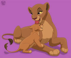 Lioness and cub Commission by dukacia
