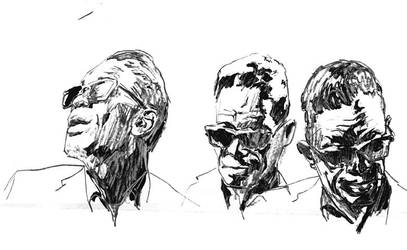 3 Sketches of Lightnin Hopkins by clayrodery