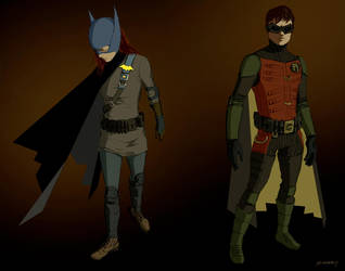 Batgirl and Robin by clayrodery