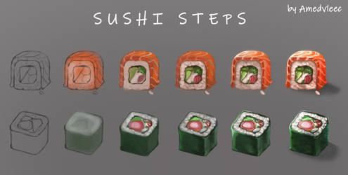 Sushi steps by AmeDvleec