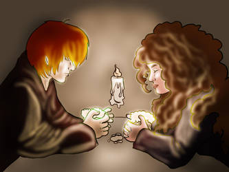 Light practice - Ron and Hermione by ratatattedup