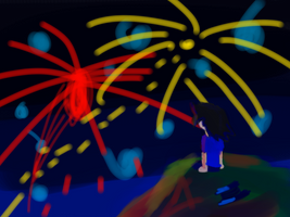 Watching the fireworks by SpectreStrut27