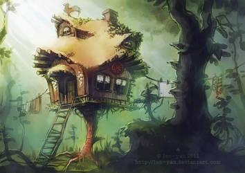 hut on a chicken leg by len-yan