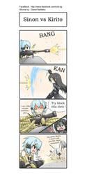 SAO 4koma : Kirito vs Sinon by GreenTeaNeko