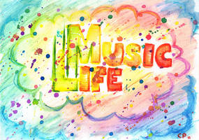 Music is Life - Watercolor by lille-cp