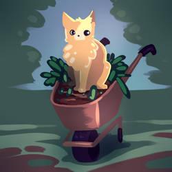 Cat in a wheelbarrow by Ma-n