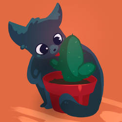 Cat with a cactus by Ma-n