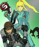 Samus and Snake by GeijutsuBakuhatsu