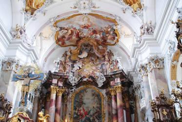 Inside the Basilica of Ottobeuren by Glasseelenwolf