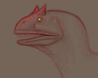 Carnotaurus Face by squeakychewtoy