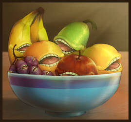 Bowl of Biting Fruits by AlicornParty