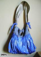 Sac bleu et beige motif oiseau,libellule et fleur by Emillye