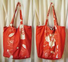 Gros sac de magasinage orange fleurie by Emillye