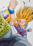 Gohan SSJ2 vs Perfect Cell by Daisuke-Dragneel
