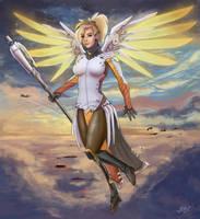 Guardian Angel - Overwatch Fanart by Mi3kka1S4