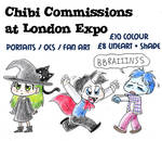 Chibi commissions at London Expo by Naoru