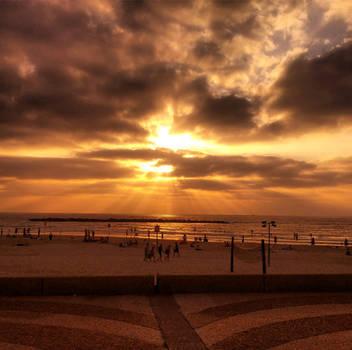 tel aviv beach sunset by Kskoren