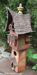 Miniature fantasy fairy tower sculpture by Beneaththeferns