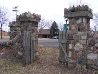 Stone Fence Wood Gate 1 by OsorrisStock