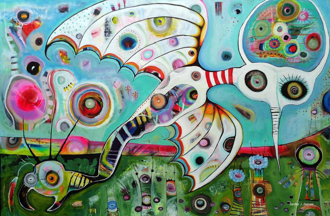 Outsider Art Painting: Earth, Air, Cosmos by bugatha1