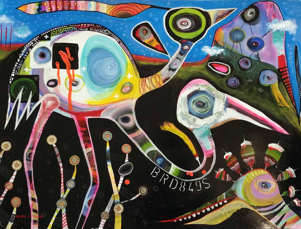 Outsider Art Painting: The Birds by bugatha1