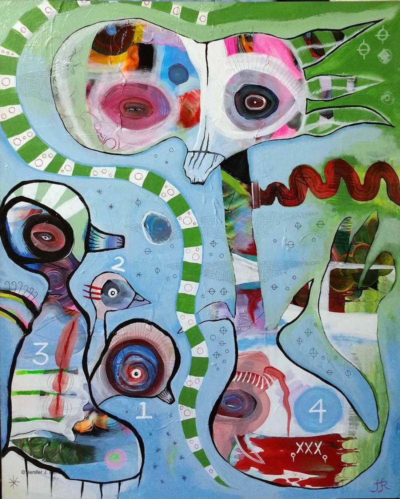 Outsider Art Painting: Birds One Through Four by bugatha1