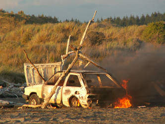 Burning Car by Denita