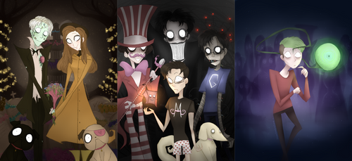 Youtubers drawn in the Tim Burton Style by ChloesImagination