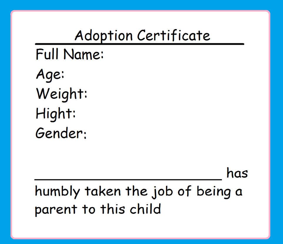 Toy Adoption Certificate By Unikugaru On Deviantart