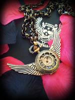 Wings Of Time Steampunk Pendant Watch by francescadani