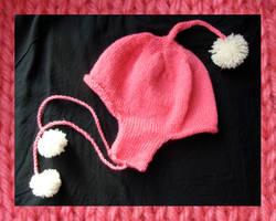 pink ear-flaps by nyankorita
