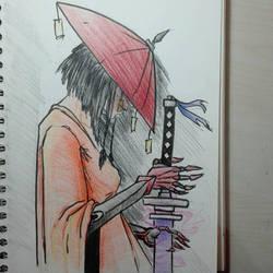 Female Samurai with a magic katana by thelost544