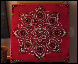 painted mandala on canvas by ladyhawk11
