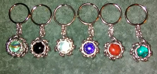 Chainmaille wrapped marble keychains by Des804