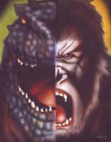 Godzilla VS King Kong by MaHenBu