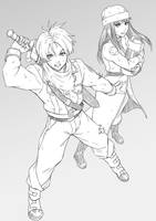 Future Trunks and Mai Sketch by MaHenBu