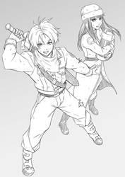 Future Trunks and Mai Sketch by MaHenBu