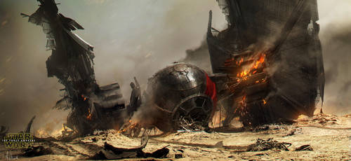 Star Wars: The Force Awakens - Crashed TIE fighter by AndreeWallin