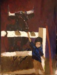 Child and Bull- Work in Progress by AKI355
